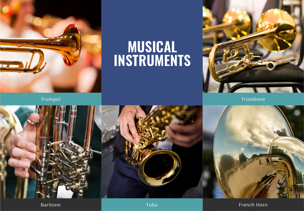Musical-Instruments: Trumpet, Trombone, Baritone, Tuba, French. Horn