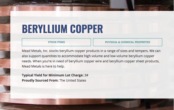 Minimum lot charge for beryllium copper