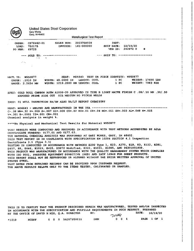 mill test report example page 1