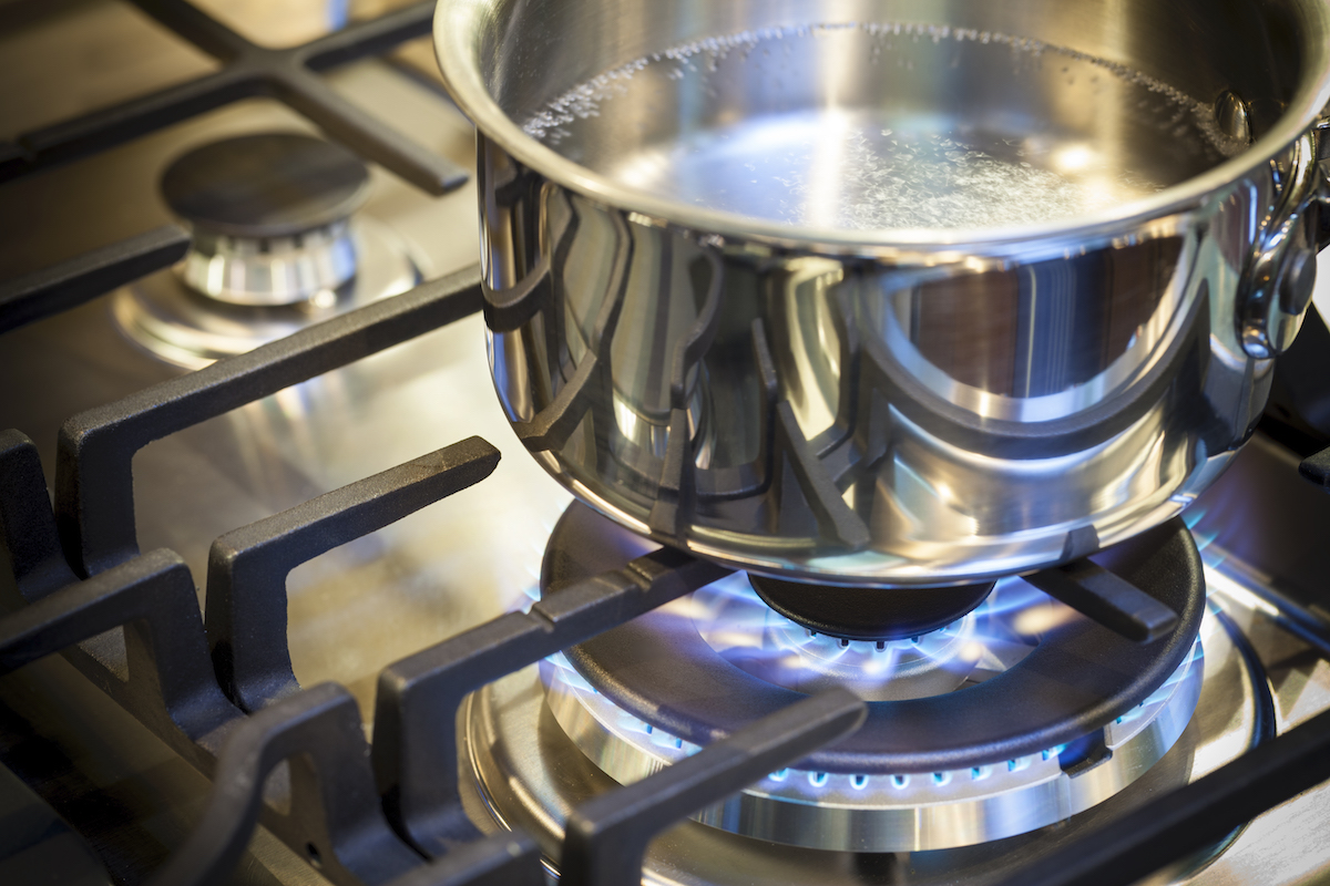 stainless steel pot boiling